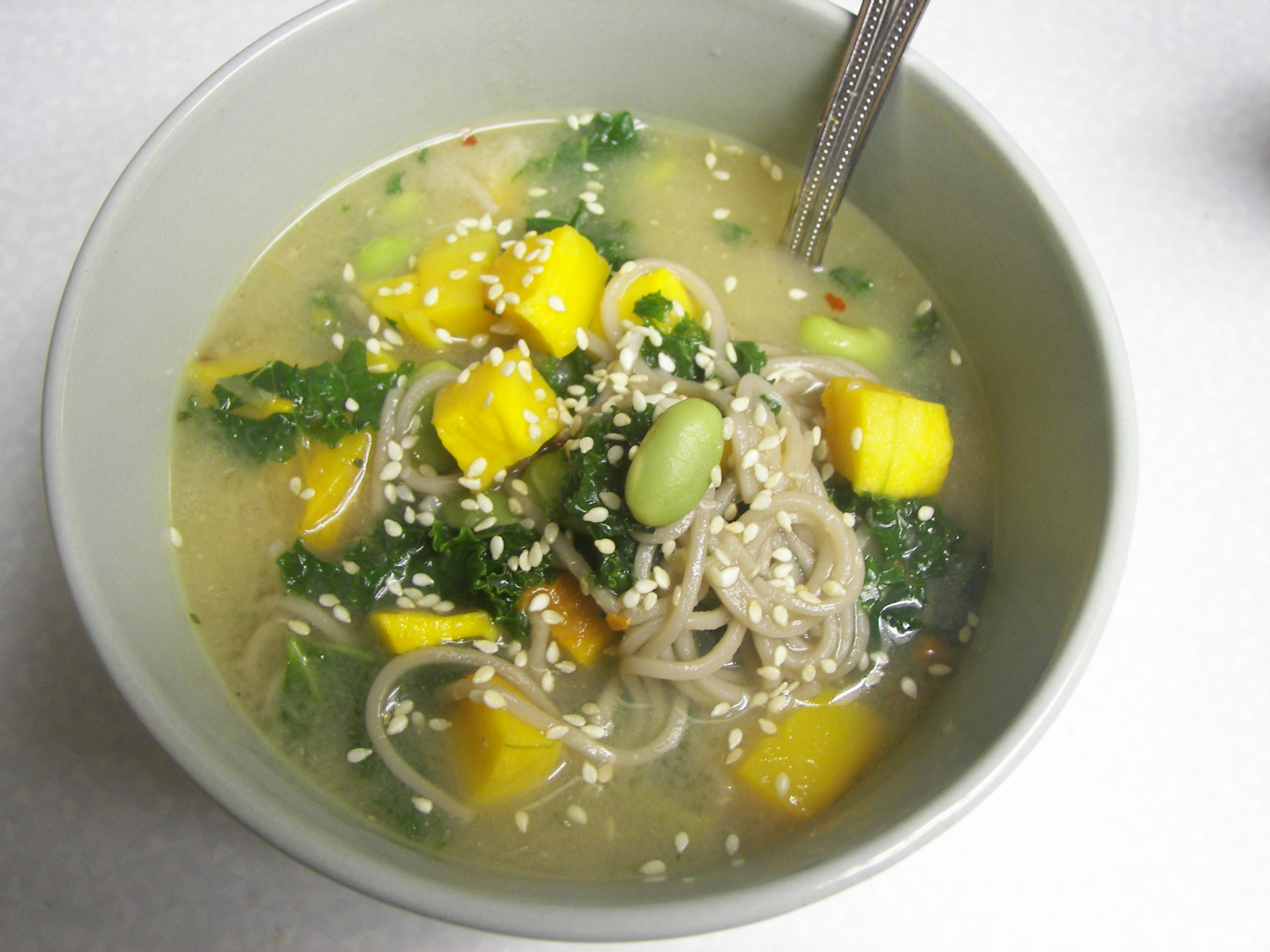 ... Squash Miso Noodle Soup with Kale and Edamame - Whole Hope Wellness