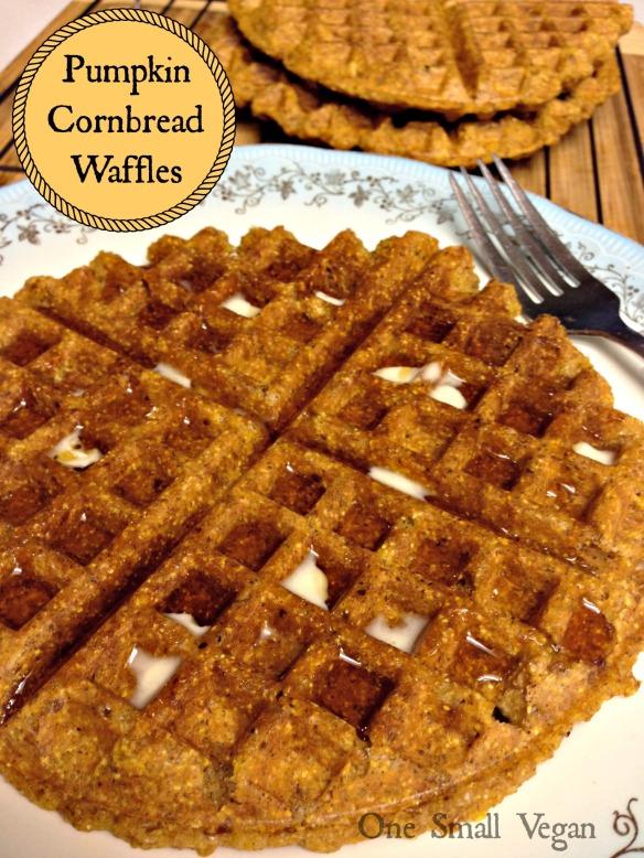 title, pumpkin cornbread waffles